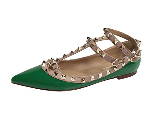 Kaitlyn Pan Besat Strappy Ballerina Læder Flats Grøn Patentansøgninger / Nøgen Trim / Guld Nitter nakzLQPdW