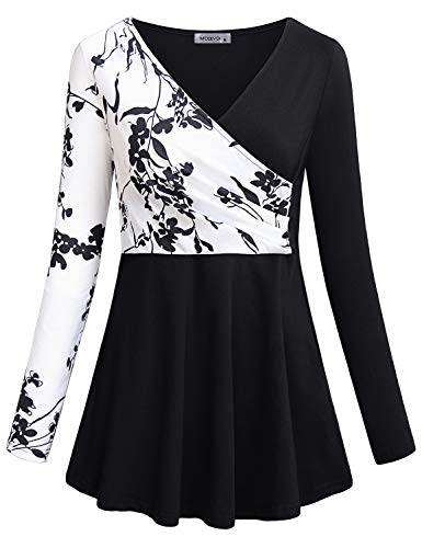 (MOQIVGI Floral Tops for Women Fall,Business Casual Long Sleeve V Neck Faux Wrap Blouse Trendy Vintage Cute Dressy Flowy Swing Tunic High Waist Ruched Work Shirt Ladies Office Wear Black Medium)