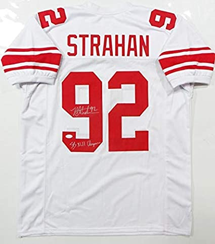timeless design 8896b 4110e Signed Michael Strahan Jersey - White Pro Style w SB Champs ...