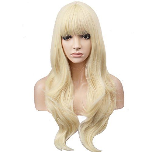 BERON Long Wavy Soft Synthetic Wig with Straight Bangs for Women Girls Wig Cap Included (Light -