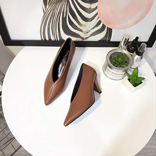 Type A E Witch Casual Shoes Scarpe alti Punteruolo Deep Autunno Shoes Alti T Tacchi Single Da Con Yukun Punta Super Soft Nonna Inverno Tacchi Nero Brown q1pw7gIF