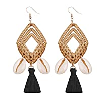 Gnc33Ouhen Women Geometric Earring Rhombic Cowrie Shell Tassel Charm Rattan Woven Statement Hook Earrings Black