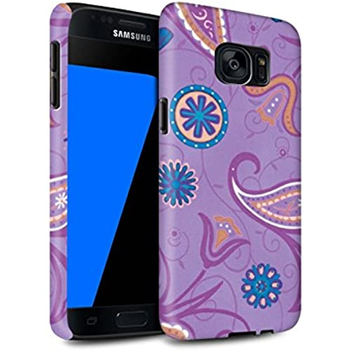 STUFF4 Matte Tough Shock Proof Phone Case for Samsung Galaxy S7/G930 / Purple/Orange Design / Springtime Collection Sales