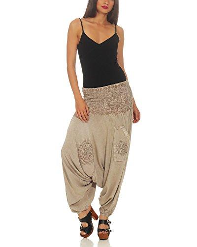 Yoga Leena 704 Donna Aladdin Harem Pantaloni Pants Bloomers Da Beige UUr0q4