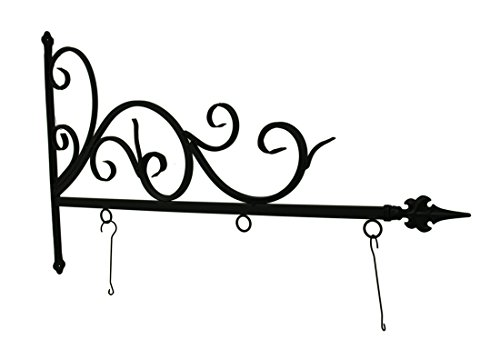 ive Wall Hooks Black Powder Coated Metal Wall Mount Hanging Scroll Bracket 39.5 X 14 X 1 Inches Black (Address Sign Holder)