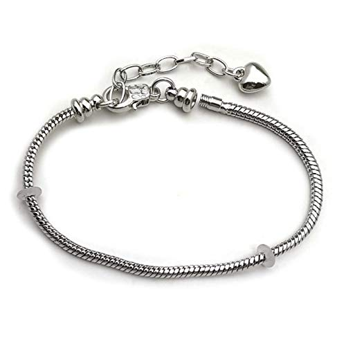 5pcs Snake Chain Charm Bracelet Starter with Classic Bead Lobster Clasp Extender Chain for Crafting, Jewelry Findings Making Accessory for DIY Bracelet C9399 -