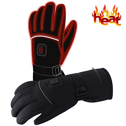 Autocastle Men Women Rechargeable Electric Warm Heated Gloves Battery Powered Heat Gloves Kit,Winter Sport Outdoor Thermal Insulate Gloves for Climbing Skiing Hiking Touchscreen Waterproof Handwarmer