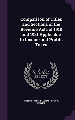 Comparison of Titles and Sections of the Revenue Acts of 1918 and 1921 Applicable to Income and Profits Taxes