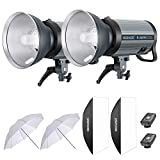 Neewer 800W Studio Strobe Flash Photography Lighting Kit:(2) 400W Monolight with 2.4G Wireless Trigger,(2) Lampshade,(2) Softbox,(2) 33 Inches Umbrella for Shooting Bowens Mount(Q-400N)
