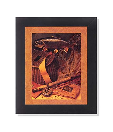 Old Fishing Fly Rod and Fish Memorabilia Wall Picture Framed Art - Framed Fishing Fly