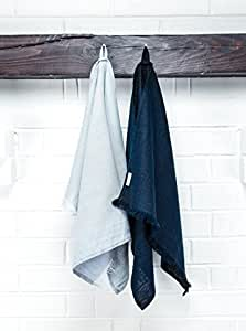 Set of 2 Linen Kitchen Towels Dish Cloth Stone Washed Towels in Grey and Dark Blue Size 17'' x 27''  Pure Linen with High Absorption, Soft Fabric and Lint-Free Safe for Machine Wash Drying