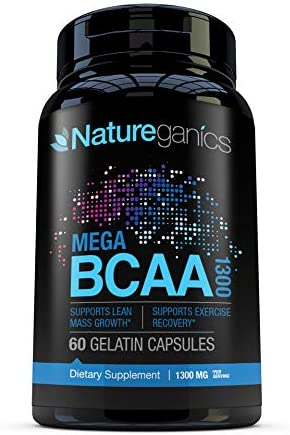 Natureganics MEGA BCAA Amino Acids Dietary Supplement, 1300 mg, 60 Capsules