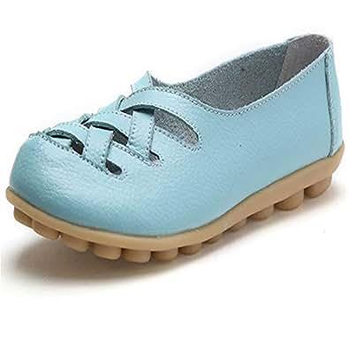 lcky Women's Casual Shoes Classic Loafers Walking Shoes Driving Shoes(Aqua Blue 34/3 B(M) US Women)
