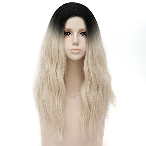 Black Roots Mixed Light Blonde Ombre Medium 20 Inches Wavy Heat Resistant Cosplay Wig Fashion Lolita Women's Party