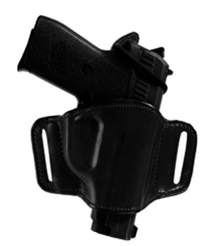 Bianchi 105 Minimalist, Suede Lined, Premium Leather Holster w/Elastic Strap & Leather Tab, Black, Right Hand, SZ13/15, Beretta 92F, 92FS, 96FS, Glock 17, 19, 22, 23, 26, 27, S&W M&P 1.0/2.0 9mm, .40, .45, Taurus PT-111 (Leather Lined Holster Suede)