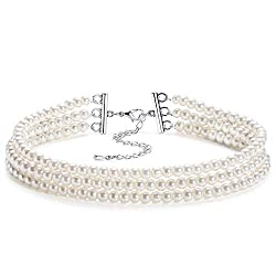 Round Imitation Pearl Multi Strands Choker Necklace