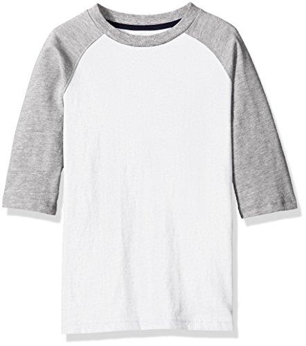 Scout + Ro Big Boys' Three Quarter-Sleeve Baseball T-Shirt, White/Grey, 8 (Grey Youth T-shirt)