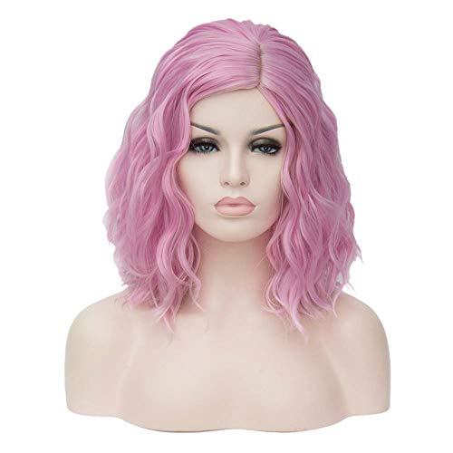 TopWigy Pink Women Cosplay Wig,Medium Length Short Curly Bob Body Wave Colorful Heat Resistant Hair Wigs Costume Party Bob Wig for Girls(Pink)