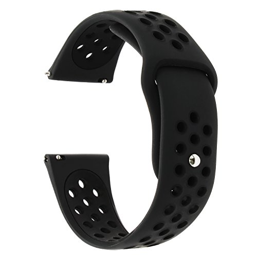 Chrono Strap Rubber (for Samsung Gear S3 / Galaxy Watch 46mm Band, TRUMiRR 22mm Silicone Rubber Watch Band Quick Release Strap Sports Bracelet for Samsung Gear S3 Classic Frontier,Gear 2 R380 R381 R382, Black)