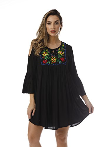 Riviera Sun Cold Shoulder Floral Embroidered Casual Dress