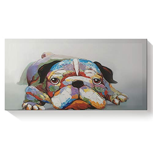 (Hand Painted Animal Lovely Lying Shar Pei Baby Dog Modern Oil Painting Canvas Wall Art for Home Decor Stretched and Framed Artwork 8X16 Inch)