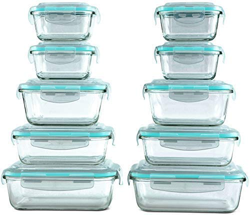 [20 Piece] Glass Food Storage Containers Set with Snap Lock Lids – Safe for Microwave, Oven, Dishwasher, Freezer – BPA Free – Airtight & Leakproof