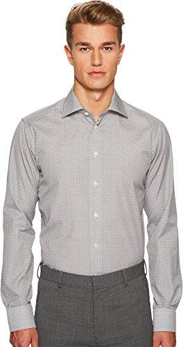 Eton  Men's Slim Fit Micro Bulldog Shirt Light Blue/Brown Shirt