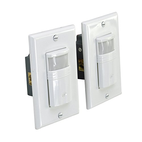 HomeSelects 1309 Pir Wall Switch, Occupancy & Vacancy Sensor, 180 Degree Sensing, Automatic On/Off, 2 Pack, White Cover Plates Included