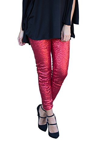Misassy Womens Sexy Glitter Sequins Leggings Elastic Waist Sparkle Stretch Shiny Tights Dance Pants ()