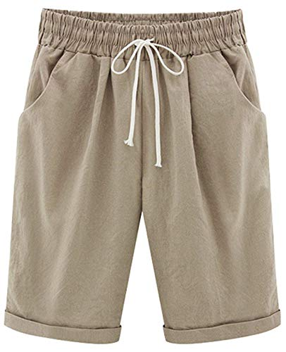 Yknktstc Womens Casual Elastic Waist Knee Length Curling Bermuda Shorts with Drawstring Large - Shorts : Khaki Pleated Women