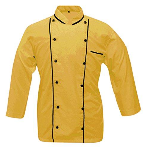 Leorenzo Creation DP-07 Men's Chef Coat Double Piping (Size- L, Dark Yellow Colour)