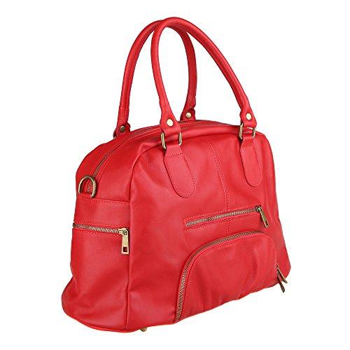 Con Cuero Made Mujer Correa De Hombro Borse Italy In Rojo En Bolso Cm 47x29x21 Chicca Genuino x8qtvq
