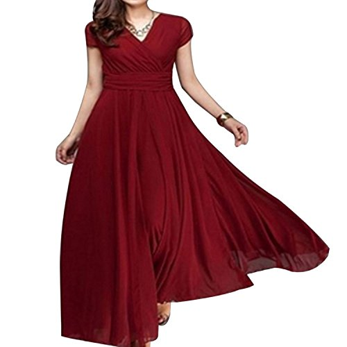 (Fresh -house:Olive Tayl Dresses Chiffon Dress Plus Size 5XL Casual Solid Short Sleeve V-Neck Vestidos Vintage Long Dress,Burgundy,5XL)