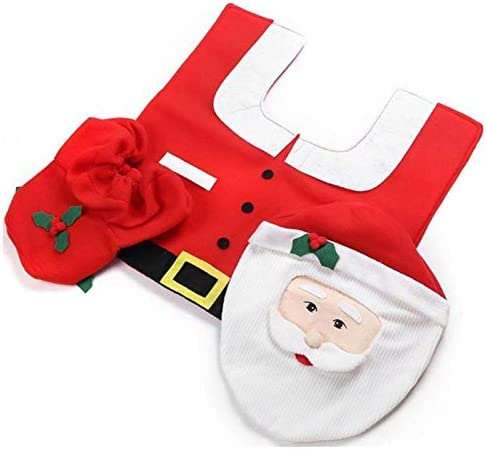 TOOGOO クリスマスの飾り 家庭用バスルーム便座カバー 紙敷物 クリスマスオーナメント 新年サンタクロース