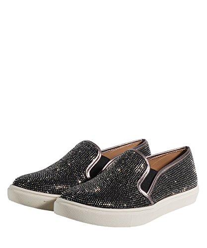 Steve Madden Excess Slip On Silver-Zapatos Negras Plata Brillantes plateado