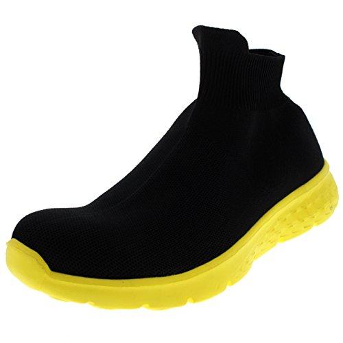 Hombre para Entrenadores Corriendo Calcetín De Ponerse Amarillo Deporte Ligero Negro Punto Caminar Tejido Fit fxafAqg