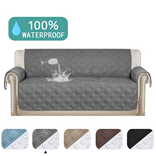 Turquoize 100% Waterproof Dog Couch Cover Quilted Sofa Protector Couch Covers for 3 Cushion Couch Soft and Smooth Quilted Furniture Sofa Covers for ...