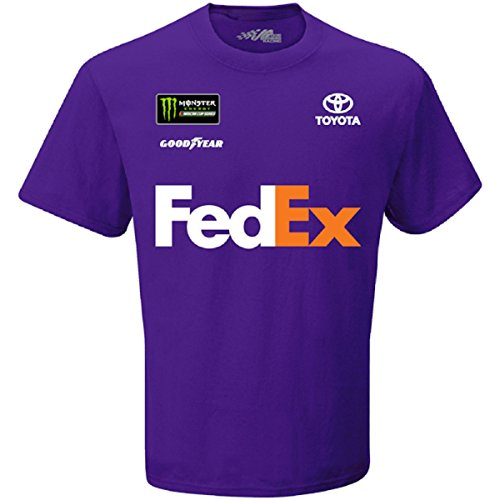 Checkered Flag Denny Hamlin 2018 FedEx Uniform NASCAR T-Shirt (Fedex Racing)