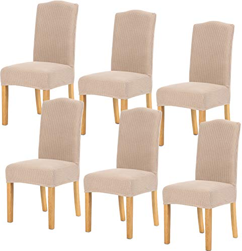 TIANSHU Stretch Chair Cover for Home Decor Dining Chair Slipcover (6 Pack, Sand) (Chairs Dining Cover)