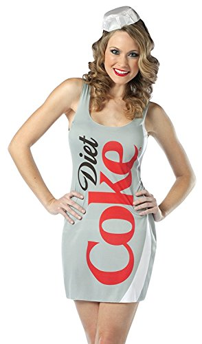 [Rasta Imposta Diet Coke Tank Dress, Silver, Adult 4-10] (Food Halloween Costumes For Adults)