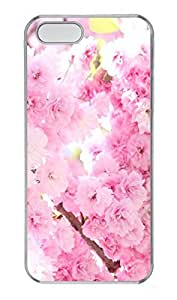 iPhone 5 5S Case Pink Cherry Blossoms PC Custom iPhone 5 5S Case Cover Transparent