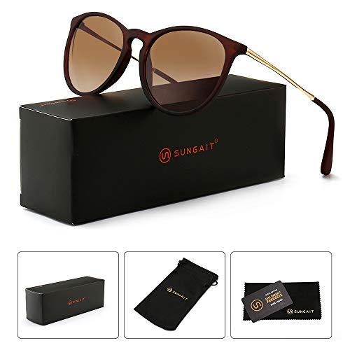 - SUNGAIT Vintage Round Sunglasses for Women Classic Retro Designer Style (Brown Frame Matte Finish/Brown Gradient Lens)