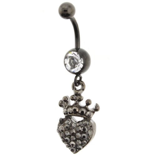 14G - 3//8 Bar Length Black Anodized Heart with Princess Crown Belly Ring with Crystals Sold Individually 1.6mm 10mm