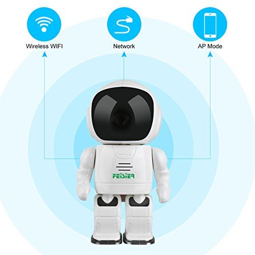 HD Wireless Robot IP Camera,FEISIER 960P Security Camera 1.3MP CMOS Baby Monitor Pan Tilt Remote Home Security P2P IR Night Vision for Mobile Android/iOS and Laptop (White) by FEISIER (Image #2)