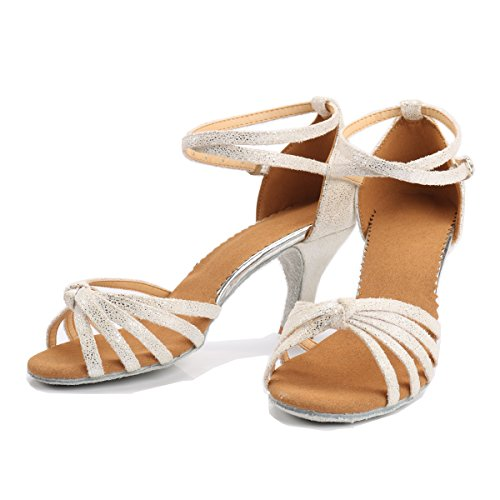 Mujer de Zapatos 38 Blanca para Alto de Medio Latino Tacón Tacón 7cm Baile VESI Agqd5zww