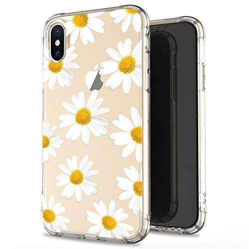 JIAXIUFEN Clear Cute Slim Shockproof Flower Floral Desgin Soft Flexible TPU Silicone Cover Phone Case for iPhone X/iPhone Xs 5.8 inch - White Chrysanthemum