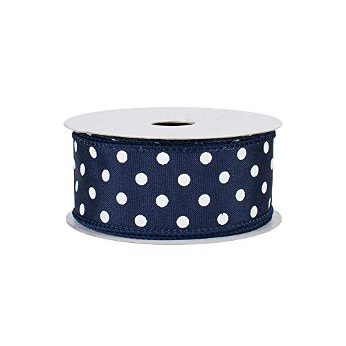 "Navy Polka Dots Wired Ribbon - 1 1/2"" x 10 Yards, White Dots on Navy Blue Faux Satin Ribbon, Valentine"