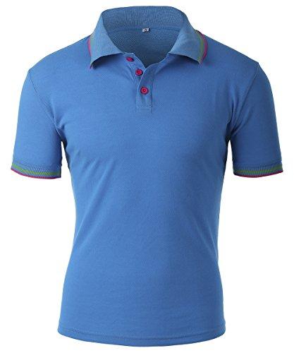 Mens Summer Cotton Short Sleeved Polo Shirt Blue Xl