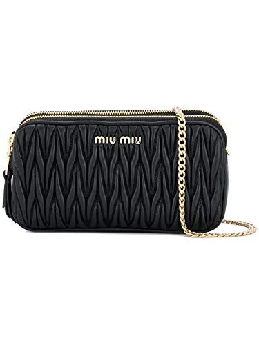 Miu Miu Women's 5Dh009n88f0002 Black Leather Shoulder Bag ()