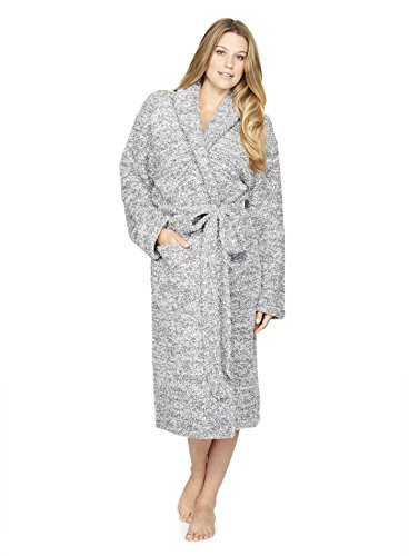 Barefoot Dreams Cozychic Heathered Adult Robe Graphite-White, Size 3 by Barefoot Dreams